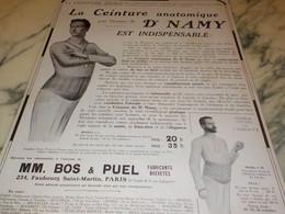ANCIENNE PUBLICITE  CEINTURE ANATOMIQUE DOCTEUR NAMY 1914 - Habits & Linge D'époque