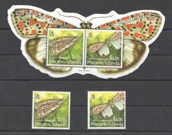 X925 PITCAIRN ISLANDS INSECTS BUTTERFLIES 1SET+1BL MNH - Papillons