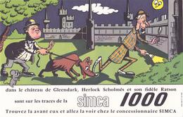 BUVARD AUTOMOBILE SIMCA 1000 En 1961 - Détective Chien Dréssé - Souris - Illustrateur René Sallaz - Automotive