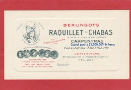 Carte De Visite: Vaucluse - Carpentras - Berlingots Raquillet-Chabas - Bd De Graville - Bonbon - Visiting Cards