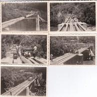 5 MINI PHOTOS--AFRIQUE NOIRE--construction Du Pont Avec Des Militaires--voir Scan - Africa