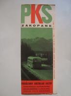 PKS. ZAKOPANE. SKRÓCONY ROZKLAD JAZDY. KOMUNIKACJI AUTOBUSOWEJ - POLAND, PODHALE, 1967. - Tourism Brochures