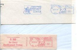 34200  U.s.a.  .2 Red Meter/freistempel/ema/ 1963+1946, CUTS Fragments !!,handicapped Person - Handicaps