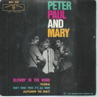 """45 Tours EP - PETER PAUL AND MARY   -  WARNER BROS 55 -   """"  BLOWIN' IN THE WIND """" +  3 - Vinyl Records"""