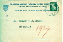 """CONFEDERAZIONE FASCISTA INDUSTRIALI-SIENA-SINDACATO PROPRIETARI DI FABBRICATI ,1939 -CARTOLINA INVITO """"SALUTI FASCISTI"""" - Partecipazioni"""