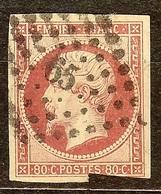 BON NAPOLEON N°17 Ba 80c Rose Vif Oblitéré Losange PC 65 AMIENS Cote 100 Euro PAS D'AMINCI - 1853-1860 Napoléon III