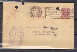 Postkaart Van Bruxelles Naar Braine L'Alleud Met Vlagstempel L.N.Pour La Défense Du Franc - 1922-1927 Houyoux