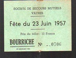 Vayres (33 Gironde) Billet De Loterie TOMBOLA   FETES DU 23 JUIN 1957 (PPP12582) - Lottery Tickets