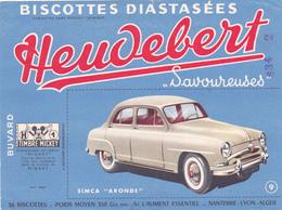 BUVARD AUTOMOBILE SIMCA ARONDE - Biscottes Diastasées Heudebert Savoureuses N° 9 - 1 Timbre Mickey - Automotive