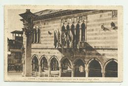 UDINE - FINESTRONE DELLA LOGGIA MUNICIPALE CON LE BANDIERE DEGLI ALLEATI 1919   VIAGGIATA FP - Udine