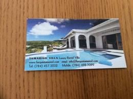 Carte De Visite «TAMARIND VILLA» Bequia - St Vincent And The Grenadines (Antilles) - Visiting Cards