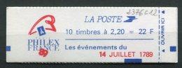 7102   FRANCE Carnet 2376c12**   2 F 20 Rouge Liberté  :  Les événements Du 14 Juillet 1789   1989   TTB - Carnets