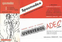 3 Buvards Anciens Produits Pharmaceutiques - LABORATOIRE CRINEX-UVE -SPAMODEX -UVESTEROL - BOTTICELLI - ULLMANN Paris - Drogisterij En Apotheek