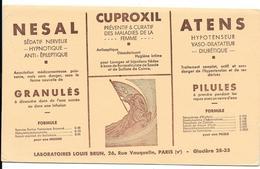 Buvard Ancien Produit Pharmaceutiques - LABORATOIRES LOUIS BRUN Paris - Lithographie -NESAL, CUPROXIL,ATENS - Produits Pharmaceutiques
