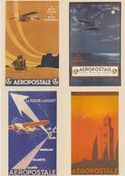 France, 4 Entiers Postaux Neufs AEROPOSTALE (cartes Avec Timbres Imprimés), Edition Musée De La Poste Et La Poste - Post