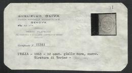 ITALIA REGNO ITALY KINGDOM 1863 1866 EFFIGIE RE VITTORIO EMENUELE II CENT. 10 TORINO MLH OTTIMA CENTRATURA - Nuovi