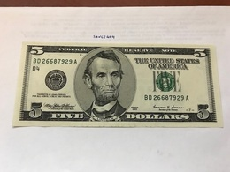 USA United States $5.00 Banknote Uncirculated 1999 - National Currency