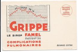 Buvard Ancien -produits Pharmaceutiques -SIROP FAMEL -GRIPPE,COMPLIC. PULMONAIRES -feuille De Températures BOUCHET LAKAR - Chemist's