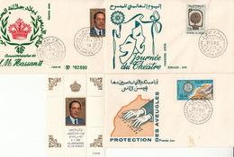 MAROC 1969 - LOT De 3 ENVELOPPES PREMIER JOUR FDC + BLOC N°5 S.M. HASSAN II - Morocco (1956-...)
