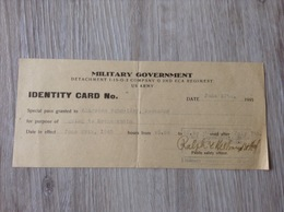 Military Government Identity Card Company 2ND ECA Regiment US Army Bad Neuenahr 1945 - Documents