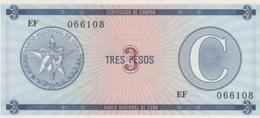 (B0326) CUBA, ND. 3 Pesos. Foreign Exchange Certificate. P-FX12. UNC - Cuba