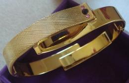 Bracelet Rigide Doré (plaqué ?) Perles Violette Et Rose .. Du Plus Bel Effet ... (voir Photos) ~~~ Mise à Prix 1€ !!! - Bracelets