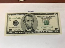 USA United States $5.00 Banknote Uncirculated 1999 - Devise Nationale