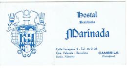 Carte De Visite Hostal Residencia Maribada, Calle Tarragona, Cambrils (vers 1970) - Visiting Cards