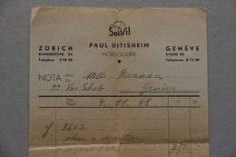 Facture Paul Ditisheim Horlogerie Zürich, Genève (Suisse), 1948 - Switzerland