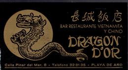 Carte De Visite Bar Restaurante Vietnamita Y Chino Dragon D'Or, Calle Pinar Del Mar, Playa De Aro (vers 1970) - Visiting Cards