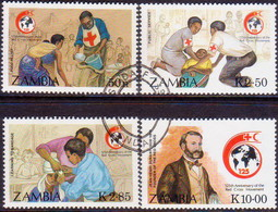 ZAMBIA 1988 SG #554-57 Compl.set Used Int.Red Cross - Zambia (1965-...)