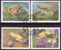 ZAMBIA 1989 SG #567-70 Compl.set Used Frogs And Toads - Zambia (1965-...)