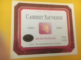 8324 - Cabernet Sauvignon 1993 Vin De PAys 'Oc Les Vignerons De Gignac - Vin De Pays D'Oc
