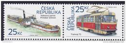 CZECH REPUBLIC, 2015, MNH, SHIPS, STEAMBOATS, TRAMS, 2v - Barche