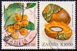 ZAMBIA 1989 SG #597//99 Part Set Used 2 Stamps Of 4 Edible Fruits - Zambia (1965-...)