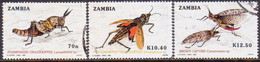 ZAMBIA 1989 SG #600-02 Part Set Used Only 15k Missing Grasshoppers - Zambia (1965-...)