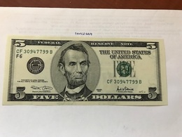 USA United States $5.00 Banknote Uncirculated 2001 - Devise Nationale