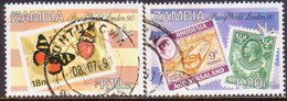 """ZAMBIA 1990 SG #609-10 Part Set Used 2 Stamps Of 4 """"London 90"""" - Zambia (1965-...)"""