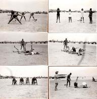 Lot De 6 Photos Originales Plage & Maillot De Bain Pour Pin-Up Au Cours De Gymnastique, Mannequin & Démonstration 1940's - Pin-up