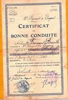 CORPS D'ARMEE REGIMENT DE DRAGONS CERTIFICAT DE BONNE CONDUITE LUNEVILLE 1924 - Diploma & School Reports