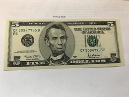 USA United States $5.00 Banknote Uncirculated 2001 - National Currency