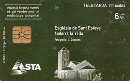 TELECARTE ANDORRE  *6e   Eglise De Saint Esteve - Andorre