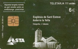 TELECARTE ANDORRE  *6e   Eglise De Saint Esteve - Andorra
