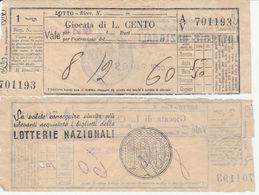 16775)SC1 GIOCO DEL LOTTO GIOCATA DA LIRE 100 1955 - Lottery Tickets