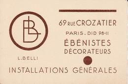 Paris Rue Crozatier Belli ébénistes Décorateurs  CB5 - Visiting Cards