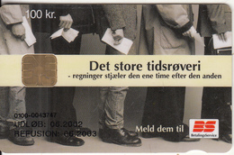 DENMARK - Betalings Service, Danmont Telecard 100 Kr., Exp.date 06/02, Used - Denmark