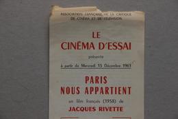 Ass.Française De La Critique De Cinéma Et De Télévision : Paris Nous Appartient, Film De Jacques Rivette (1961) - Vieux Papiers