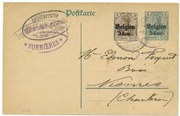 FORRIERES 1917: Cachet Eugène Moureaux BOIS + Censure Marche - Nassogne