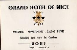 GRAND HOTEL DE NICE  BONE ALGERIE - Visiting Cards