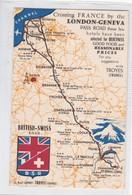 CROSSING FRANCE BY THE LONDON GENEVA PASS ROAD, BRITISH-SWISS. SOISSONS (AISNE) HOTEL DE LA CROIX D'OR, FRANCE. -BLEUP - Landkaarten